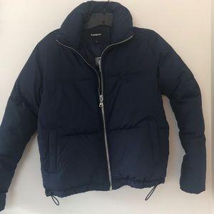 Express blue xs front zip puffer jacket